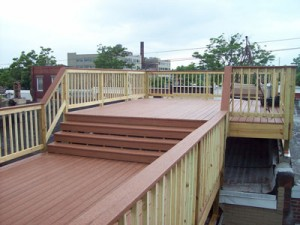 Finished multi-level roof deck.