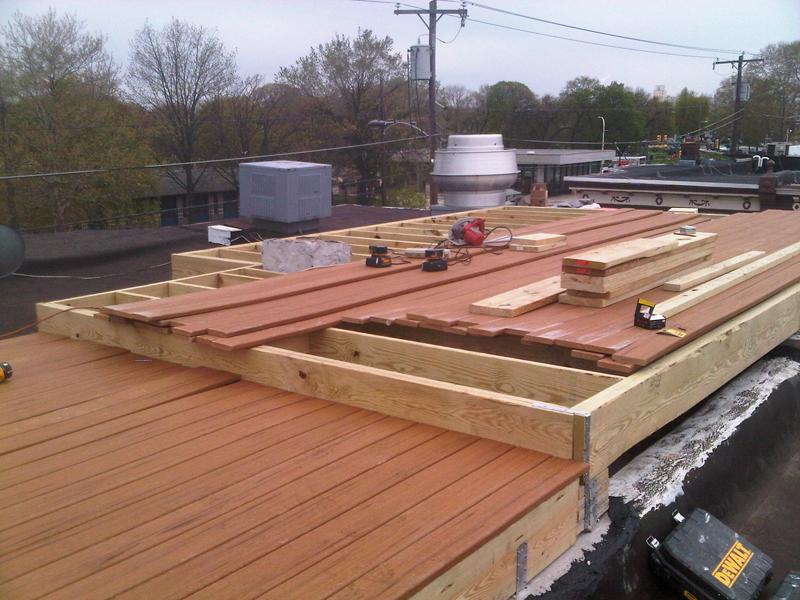 Roof deck in progress.